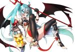 1girl :d ahoge aqua_hair asymmetrical_clothes blue_eyes broken broken_chain chains cuffs demon_girl demon_horns demon_tail demon_wings fang fingerless_gloves gala_king gloves glowing glowing_eye half_mask halloween hatsune_miku holding_lantern horns lantern light_trail long_hair looking_at_viewer open_mouth polearm shackles shiny shiny_clothes smile tail toeless_legwear trident twintails very_long_hair vocaloid weapon white_background wings