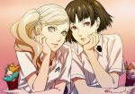 2girls blonde_hair breasts brown_hair chin_rest cleavage collarbone food gradient gradient_background grey_eyes ice_cream jewelry k_utao looking_at_viewer multiple_girls necklace niijima_makoto parted_lips persona persona_5 red_eyes shirt short_hair short_sleeves side_ponytail small_breasts takamaki_anne upper_body white_shirt