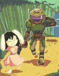 1boy 1girl ^_^ animal_ears arm_behind_head armor armored_boots arms_behind_back bamboo bamboo_forest barefoot belt_pouch black_hair boots breastplate closed_eyes commentary crossover day doom_(game) doomguy dress english_commentary floppy_ears flying_sweatdrops footprints forest full_armor full_body gun height_difference helmet holding holding_gun holding_weapon hole inaba_tewi leaf leaf_on_head long_dress looking_at_another medium_hair nature open_mouth outdoors pink_dress pouch puffy_short_sleeves puffy_sleeves rabbit_ears setz short_sleeves shotgun smile space_marine toes touhou visor walking weapon |d