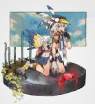 1girl bangs bare_shoulders bird_tail blood blue_eyes fangs feathers full_body goggles goggles_on_headwear grin hat heart_(organ) highres kneeling long_hair looking_at_viewer low_twintails number_tattoo original shoulder_tattoo smile solo tail talons tattoo twintails v white_hair you_(nanban319)