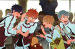 4boys backpack bag blonde_hair blue_hair blush free! glasses hana_bell_forest hand_on_another's_shoulder hazuki_nagisa highres jacket looking_at_another looking_to_the_side male_focus mikoshiba_momotarou multiple_boys nitori_aiichirou open_mouth pointing pose redhead ryuugazaki_rei silver_hair smile tote_bag
