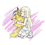 1boy 1girl blush e-122-psi hat highres hug lillie_(pokemon) pikachu pokemon pokemon_(anime) pokemon_(creature) pokemon_(game) pokemon_sm pokemon_sm_(anime) satoshi_(pokemon)