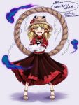 1girl :d blonde_hair cosplay crossed_arms dated hair_ribbon hat leaf long_skirt maple_leaf mirror moriya_suwako mudix2 open_mouth ribbon rope sandals shide shimenawa short_hair signature skirt smile solo touhou translation_request yasaka_kanako yasaka_kanako_(cosplay) yellow_eyes