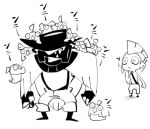2boys :<> bare_chest boots chum_(splatoon) clenched_teeth fishman greyscale hat head_fins male_focus monochrome monster_boy mouth_hold multiple_boys personification salmonid sido_(slipknot) simple_background smallfry_(splatoon) splatoon splatoon_2 steel_eel suspenders teeth white_background