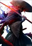 1boy commentary_request fate/grand_order fate_(series) glowing hakama haori hat hidden_eyes holding holding_sword holding_weapon japanese_clothes kei-suwabe long_hair long_sleeves okada_izou_(fate) over_shoulder solo sword sword_over_shoulder weapon weapon_over_shoulder white_background wide_sleeves