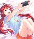 1girl :d arms_up beatless bed_sheet blue_shirt breasts endou_yuka food_print hair_between_eyes holding long_hair lying mikanchii on_back open_mouth orange_shorts print_shirt red_eyes redhead shirt short_shorts short_sleeves shorts sketch smile solo very_long_hair