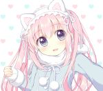 1girl :d animal_ears bangs blue_coat blue_eyes blush cat_ears eyebrows_visible_through_hair fingernails frills fringe fur-trimmed_sleeves fur_trim hair_between_eyes head_tilt heart heart_background long_hair long_sleeves looking_at_viewer open_mouth original outstretched_arm pom_pom_(clothes) ribbon riria_(happy_strawberry) scarf sleeves_past_wrists smile solo twintails white_background white_ribbon white_scarf