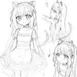 1girl ? animal_ears apron blush cat_ears cat_girl cat_tail choker closed_mouth collarbone dress eighth_note flower frilled_apron frills greyscale hair_flower hair_ornament hair_ribbon long_hair maid monochrome multiple_views musical_note original puffy_short_sleeves puffy_sleeves ribbon riria_(happy_strawberry) short_sleeves sidelocks simple_background sketch smile tail thigh-highs translation_request very_long_hair waist_apron white_background