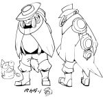 1boy boots fish fishman greyscale hat head_fins male_focus monochrome monster_boy multiple_views personification salmonid sido_(slipknot) simple_background smallfry_(splatoon) splatoon splatoon_2 spoon steel_eel suspenders turnaround white_background