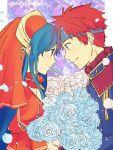 1boy 1girl absurdres blue_eyes blue_hair bridal_veil fire_emblem fire_emblem:_fuuin_no_tsurugi fire_emblem_heroes flower head_to_head headband highres lilina nishimura_(nianiamu) redhead rose roy_(fire_emblem) smile veil