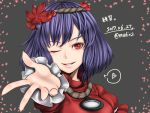 1girl dated hair_ornament headband heart leaf leaf_hair_ornament looking_at_viewer maple_leaf mirror mudix2 one_eye_closed outstretched_hand purple_hair red_eyes rope shimenawa short_hair signature smile solo speech_bubble spoken_heart touhou translation_request twitter_username yasaka_kanako