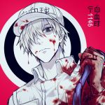 1boy baseball_cap black_eyes blood bloody_clothes character_name closed_mouth gloves hair_over_one_eye hat hataraku_saibou jumpsuit looking_at_viewer male_focus red_background solo u-1146 white_gloves white_hair white_skin