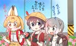 3girls alternate_headwear animal_ears backpack bag bag_charm bare_shoulders black_hair blonde_hair blue_eyes blush bow bowtie charm_(object) child commentary_request elbow_gloves eyebrows_visible_through_hair fang feathers fingerless_gloves flower gloves grey_eyes grey_hair hat holding_strap kaban_(kemono_friends) kemono_friends lucky_beast_(kemono_friends) multicolored_hair multiple_girls open_mouth otter_ears school_hat serval_(kemono_friends) serval_ears serval_print shirt short_hair short_sleeves sleeveless small-clawed_otter_(kemono_friends) t-shirt translation_request wagiyabosa_jirou white_hair yellow_eyes
