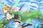 1girl :d black_footwear blonde_hair boots bracelet braid breasts choukoukou_no_diaosi cleavage clouds corset day detached_sleeves eyebrows_visible_through_hair floating_hair flying green_eyes green_wings hair_between_eyes high_ponytail highres jewelry large_breasts leafa long_hair looking_at_viewer open_mouth outdoors outstretched_arms shorts side_braid smile solo sunlight sword_art_online thigh_strap transparent_wings twin_braids very_long_hair white_shorts wings
