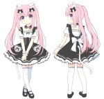1girl absurdres animal_ears bangs black_bow black_dress black_footwear blue_eyes blush bow cat_ears cat_girl cat_tail closed_mouth collarbone dress eyebrows_visible_through_hair hair_between_eyes head_tilt heart highres legs_crossed looking_at_viewer looking_back mary_janes multiple_views original own_hands_together pink_hair profile puffy_short_sleeves puffy_sleeves ribbon-trimmed_legwear ribbon-trimmed_sleeves ribbon_trim riria_(happy_strawberry) shoes short_sleeves simple_background smile standing tail thigh-highs twintails watson_cross white_background white_legwear wrist_cuffs