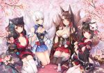 4girls :d akagi_(azur_lane) animal_ears azur_lane black_gloves black_hair black_legwear blush breasts brown_hair butterfly_hair_ornament cat_ears cat_mask cherry_blossoms cleavage commentary_request cup death-the-cat fang floral_print fox_ears fox_tail fusou_(azur_lane) gloves hair_ornament highres japanese_clothes kaga_(azur_lane) large_breasts long_hair looking_at_viewer mask mask_on_head medium_breasts mimikaki multiple_girls open_mouth parted_lips partly_fingerless_gloves red_eyes sakazuki seiza short_hair sitting smile tail thigh-highs white_hair white_legwear yamashiro_(azur_lane) zettai_ryouiki