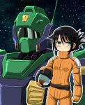 1girl alternate_hairstyle bags_under_eyes black_hair blush_stickers commentary_request cosplay crossover folded_ponytail frown green_eyes gundam helmet highres holding holding_helmet kuroki_tomoko mecha mobile_suit nemo_(mobile_suit) object_namesake pilot_suit sidelocks solo watashi_ga_motenai_no_wa_dou_kangaetemo_omaera_ga_warui! zatou_(kirsakizato) zeta_gundam