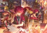 2boys book bookshelf candle chair couch cross cup elsword elsword_(character) gem highres letter lord_knight_(elsword) map multiple_boys music_box paper quill red_eyes redhead rune_slayer_(elsword) runes scorpion5050 shoulder_armor tattoo tea teacup