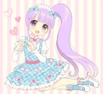 1girl :d bangs blue_bow blue_dress blue_legwear blunt_bangs blush bow center_frills dress eyebrows_visible_through_hair frills full_body hair_bow hands_up head_tilt heart heart_hands high_ponytail layered_dress long_hair long_sleeves open_mouth original pink_bow plaid plaid_bow plaid_dress puffy_short_sleeves puffy_sleeves purple_hair ribbon-trimmed_sleeves ribbon_trim riria_(happy_strawberry) shirt shoes short_over_long_sleeves short_sleeves side_ponytail sidelocks smile socks solo striped striped_background vertical-striped_background vertical_stripes very_long_hair violet_eyes white_footwear white_shirt