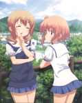 2girls absurdres bare_legs breast_hold breasts brown_eyes building cityscape closed_eyes dress fence finger_to_mouth hair_ornament hairclip highres ichinose_hana leaning light_brown_hair mountain multiple_girls official_art outdoors sailor_dress school_uniform short_hair skirt sky slow_start smile standing sunlight sweater tokura_eiko tree wooden_fence