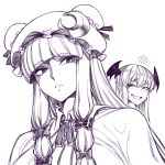 2girls bangs blunt_bangs blush bow breasts dress eyebrows_visible_through_hair fang hair_bow hat head_wings heart koakuma large_breasts mob_cap multiple_girls patchouli_knowledge pointy_ears sidelocks smile solo_focus space_jin spoken_heart striped striped_dress touhou