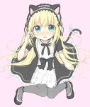 1girl animal_ears arm_up bangs black_dress black_footwear black_ribbon blonde_hair blush bow cat_ears cat_girl cat_tail dress eyebrows_visible_through_hair fingernails frilled_hairband frills green_eyes grey_legwear hair_between_eyes hairband hand_in_hair long_hair looking_at_viewer maid nose_blush original pantyhose parted_lips pink_background puffy_short_sleeves puffy_sleeves ribbon riria_(happy_strawberry) shoes short_sleeves simple_background solo tail tail_bow very_long_hair white_bow