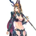 1girl abs armor bikini_armor blonde_hair breasts cleavage cowboy_shot f.s. gorget green_eyes horns large_breasts lips long_hair looking_back navel on_shoulder original polearm serious shoulder_armor solo spaulders spear standing transparent_background vambraces warrior weapon wind