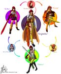 3girls armlet armor belt belt_pouch black_gloves black_skirt blazer blouse boots breastplate breasts brown_eyes buckle buckler circlet commentary commission corset crossover elbow_gloves erza_scarlet fairy_tail forehead_protector full_body fusion genie gloves gorget greaves green_eyes gun hair_over_one_eye hexafusion high_heel_boots high_heels highres jacket javelin large_breasts leg_armor long_hair milo_and_akouo miniskirt multiple_girls neck_ribbon plaid plaid_skirt polearm ponytail pouch pyrrha_nikos redhead ribbon rifle robertfiddler rune_factory rwby sarashi sarong school_uniform shield skirt spear spiky_hair sword tattoo thigh-highs vambraces weapon white_blouse xiphos_(sword) zettai_ryouiki