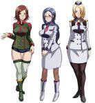 3girls aoi_cameron ascot bangs black_legwear blonde_hair blue_eyes blue_hair blush boots breasts brown_hair brown_legwear butcha-u buttons column_lineup curvy earrings garrison_cap glasses green_eyes green_legwear hair_ornament hair_over_one_eye hairclip hand_on_hip hands_together hat high_collar high_heels injuu_kangoku jewelry knee_boots kneehighs large_breasts legs_crossed lipstick liz_glover long_hair looking_at_viewer makeup mature mole multiple_girls necktie official_art outstretched_hand pantyhose pencil_skirt ponytail rail_schwartz semi-rimless_eyewear shoes short_hair short_shorts shorts skirt smile standing swept_bangs thigh-highs thigh_gap under-rim_eyewear uniform v_arms violet_eyes wide_hips zettai_ryouiki