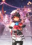 1boy black_hair clock clock_tower doll elsword elsword_(character) gloves highres light red_eyes scorpion5050 sky smile snow snowflakes snowman stairs tower tree