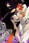 1boy 1girl asymmetrical_legwear black_dress black_footwear black_wing blue_eyes boots brown_hair cuffs dress earrings eye_contact feathered_wings gintama handcuffs horns jacket jewelry kagura_(gintama) loli_bushi looking_at_another nail_polish okita_sougo pointy_ears red_eyes red_nails short_hair sleeveless sleeveless_dress thigh-highs thigh_boots white_jacket white_wings wings