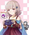 2girls bare_shoulders blush breasts closed_mouth danganronpa dress dress_shirt eyebrows_visible_through_hair fire_emblem fire_emblem:_seima_no_kouseki game_boy_advance hair_ornament hairclip handheld_game_console holding ippers light_smile long_hair lute_(fire_emblem) multiple_girls nanami_chiaki new_danganronpa_v3 parted_lips shirogane_tsumugi shirt short_hair short_sleeves sleeveless sleeveless_dress smile super_danganronpa_2