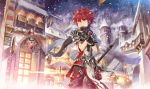 armor elsword elsword_(character) gloves light lord_knight_(elsword) red_eyes redhead santa_claus scarf scorpion5050 shoulder_armor snow snowing stairs sword sword_hilt town weapon