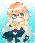 1girl adjusting_eyewear bangs blonde_hair blush eyebrows_visible_through_hair frills fumitsuki_kyou glasses hair_ornament haruno_sora jewelry long_hair long_sleeves looking_at_viewer necklace red-framed_eyewear smile solo swept_bangs upper_body vocaloid voiceroid