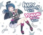 1girl anko_(love_live!_sunshine!!) birthday black_dress black_footwear black_wings blue_hair character_name dated deadnooodles dog dress english fang hair_bun happy_birthday highres holding long_hair long_sleeves love_live! love_live!_sunshine!! one_eye_closed pink_eyes puppy side_bun star tongue tongue_out tsushima_yoshiko white_feathers wings