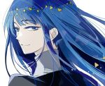 1other androgynous bangs blue_eyes blue_hair blunt_bangs colored_eyelashes gem_uniform_(houseki_no_kuni) hime_cut houseki_no_kuni lapis_lazuli_(houseki_no_kuni) long_hair looking_at_viewer looking_back shumiko_(kamenokoueki) smile solo