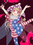 1girl :d \m/ american_flag_dress american_flag_legwear arms_up artist_name bare_arms blonde_hair blue_nails clownpiece commentary_request dress eyebrows_visible_through_hair facepaint fairy_wings feet_out_of_frame fire hat highres holding horizontal-striped_dress horizontal-striped_legwear horizontal_stripes jester_cap leg_up light_particles long_hair looking_at_viewer nail_polish neck_ruff open_mouth pantyhose pink_eyes polka_dot polka_dot_hat purple_hat red_nails ringed_eyes short_dress short_hair signature sketch smile solo star star_print striped striped_dress striped_legwear torch touhou toutenkou wings