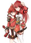 arm_over_shoulder brother_and_sister elesis_(elsword) elsword elsword_(character) eyebrows_visible_through_hair long_hair meshi_a red_eyes redhead shoulder_armor siblings smile sweatdrop sword symbol weapon