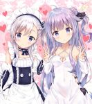 2girls :o ahoge azur_lane bangs bare_shoulders belchan_(azur_lane) belfast_(azur_lane) black_bow black_dress black_ribbon blush bow braid closed_mouth collarbone commentary_request criss-cross_halter detached_sleeves double_v dress elbow_gloves eyebrows_visible_through_hair gloves hair_between_eyes hair_bun hair_ribbon halterneck hand_up hands_up heart long_sleeves looking_at_viewer maid_headdress maruma_(maruma_gic) multiple_girls one_side_up parted_lips purple_hair ribbon side_bun signature silver_hair sleeves_past_wrists smile unicorn_(azur_lane) v violet_eyes white_dress white_gloves