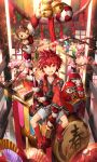 1boy bell cherry_blossoms daruma_doll drum elsword elsword_(character) fan holding instrument monkey obentou red_eyes redhead rope scorpion5050 shiny sitting traditional_clothes