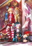 2boys aisha_(elsword) blonde_hair book chung_seiker clock cross doll elsword elsword_(character) eve_(elsword) eyebrows_visible_through_hair gloves gothic hat key lace mask multiple_boys paper railroad_tracks red_eyes scorpion5050 sword toy_train violet_eyes weapon white_hair