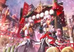 architecture bamboo bracelet cheering crowd drum drumsticks east_asian_architecture elsword elsword_(character) highres instrument jewelry lantern mask mask_removed parade priest raven_(elsword) scar scorpion5050 symbol tagme