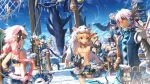 2girls 4boys add_(elsword) aisha_(elsword) animal_hood blue_hair chilling_hedgehog_(elsword) chung_seiker elsword elsword_(character) eve_(elsword) facial_mark fish hair_ornament highres hood multiple_boys multiple_girls pink_hair raven_(elsword) red_eyes scorpion5050 shark shirtless tagme violet_eyes watchtower yellow_eyes