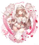 1girl :o angel angel_wings bangs bird blunt_bangs blush bow breasts brown_hair chains chastity_belt cleavage collarbone crop_top dove eyebrows_visible_through_hair falling_petals feathered_wings fingernails floral_print flower gradient_eyes gradient_wings hair_bow hair_twirling hakura_kusa halo hand_up head_tilt heart heart-shaped_pupils highres jewelry key key_necklace keyhole large_breasts long_hair long_sleeves looking_at_viewer motion_blur multicolored multicolored_eyes multicolored_wings navel necklace original petals pink_eyes pink_wings pointy_ears red_flower red_rose ring rose rose_petals rose_print shiny shiny_hair shirt sidelocks stomach symbol-shaped_pupils thigh-highs very_long_hair white_bow white_flower white_legwear white_rose white_shirt white_wings wings yellow_eyes