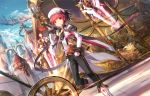 1boy book cityscape elsword elsword_(character) energy_gun grail hat holding map painting_(object) red_eyes redhead scorpion5050 shoulder_armor sky standing sword weapon wheel wings