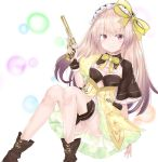 1girl absurdres atelier_(series) atelier_lydie_&_suelle bangs black_hairband boots bow breasts brown_footwear commentary_request dress eyebrows_visible_through_hair frilled_hairband frills gun hair_between_eyes hair_bow hairband hand_up handgun highres holding holding_gun holding_weapon light_brown_hair long_hair red_eyes revolver ru_zhai short_sleeves sitting small_breasts solo striped striped_hairband suelle_marlen very_long_hair weapon white_background wide_sleeves yellow_bow yellow_dress