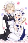 2girls ? animal apron azur_lane bare_shoulders belchan_(azur_lane) belfast_(azur_lane) bird black_dress blue_dress blue_eyes blush braid chains chick closed_mouth collarbone commentary_request dress elbow_gloves eye_contact eyes_visible_through_hair frilled_apron frilled_dress frills gloves hair_brush hair_over_one_eye hand_on_another's_arm holding holding_brush juliet_sleeves latin_cross light_brown_hair long_hair long_sleeves looking_at_another maid_headdress mugi_(iccomae) multiple_girls notice_lines one_side_up open_mouth puffy_sleeves round_teeth seiza sheffield_(azur_lane) sidelocks silver_hair sitting sleeveless sleeveless_dress strap_slip teeth thigh-highs upper_teeth waist_apron white_apron white_gloves white_legwear yellow_eyes