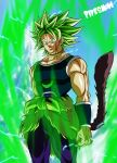 1boy alternate_costume armor aura broly dragon_ball dragon_ball_super electricity facial_scar green_hair highres jewelry monkey_tail monochrome muscle necklace pants pipesnowart redesign scar scar_on_cheek short_hair spiky_hair super_saiyan tail