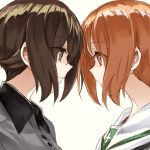 2girls brown_eyes brown_hair close-up commentary_request eyebrows_visible_through_hair eyes_visible_through_hair face-to-face girls_und_panzer grey_shirt kuromorimine_school_uniform multiple_girls nishizumi_maho nishizumi_miho ooarai_school_uniform school_uniform serafuku shirt short_hair siblings sisters white_background yuuyu_(777)