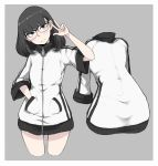 1girl black_eyes black_hair frown glasses grey_background hand_in_pocket ina_(gokihoihoi) jacket long_hair looking_at_viewer original short_hair solo thighs turtleneck v